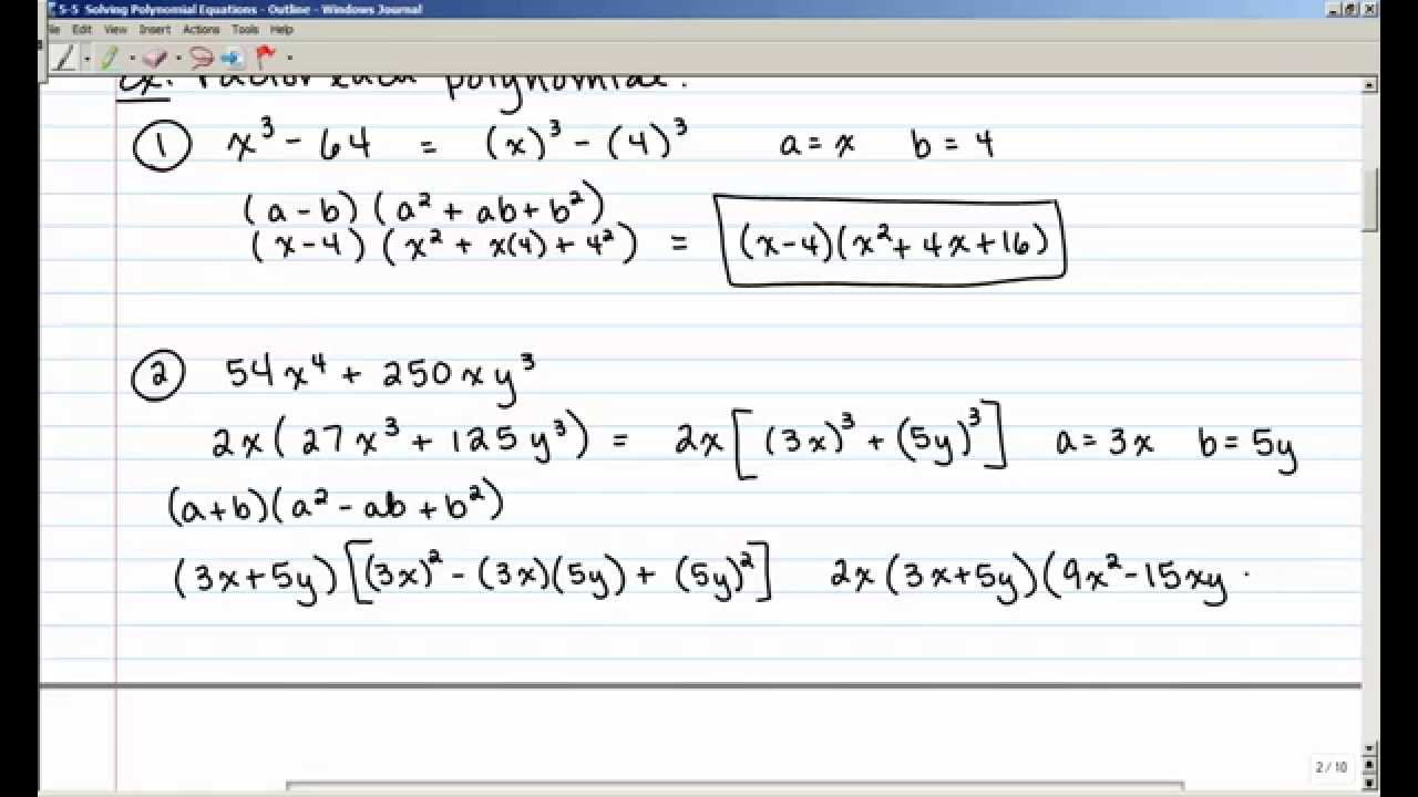 5 5 Solving Polynomial Equations Youtube
