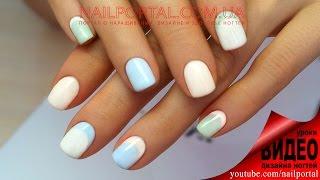 Дизайн ногтей гель-лак shellac - Обратный френч (видео уроки дизайна ногтей)
