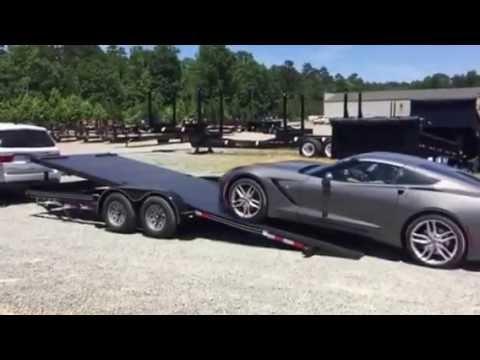 Kaufman Full Tilt Car Trailer Loading A 2016 Corvette