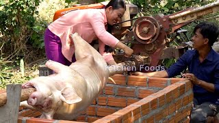 Roast Whole BIG SPICY PIG 100KG with Power Tiller Machine Tractor - BBQ Spicy Foods
