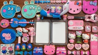 PEPPA PIG and Hello Kitty Slime Pink vs Blue | Mixing Random Things into Glossy Slime | Huong Slime