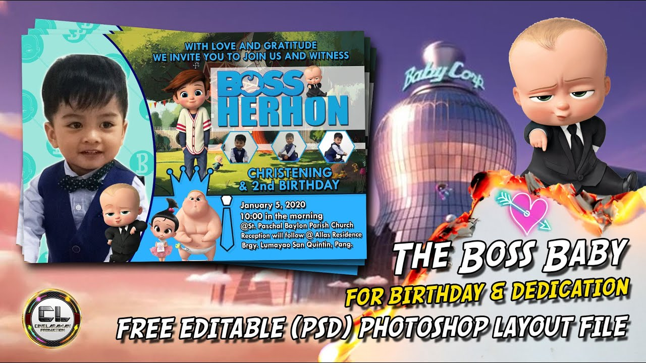 the boss baby invitation card for birthday free psd photoshop file