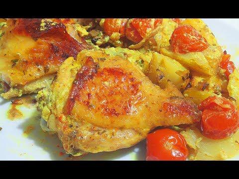 Курица , запеченная с картошкой и тыквой Рецепт куриный