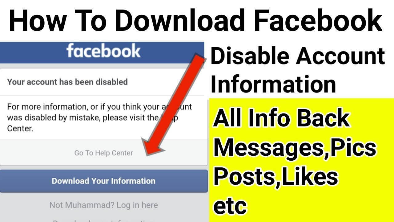 How To Download Facebook Disable Account Information | Download Disable Facebook Account Information