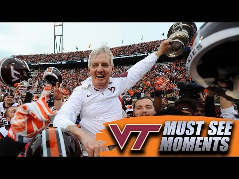 Virginia Tech's Frank Beamer Celebrates After Game-Clinching Interception