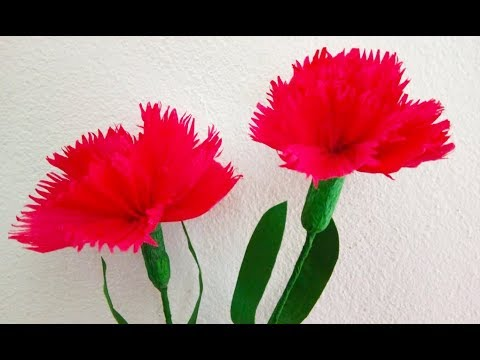 How To Make Crepe Paper Flowers! Carnations flower | Origami DIY Easy