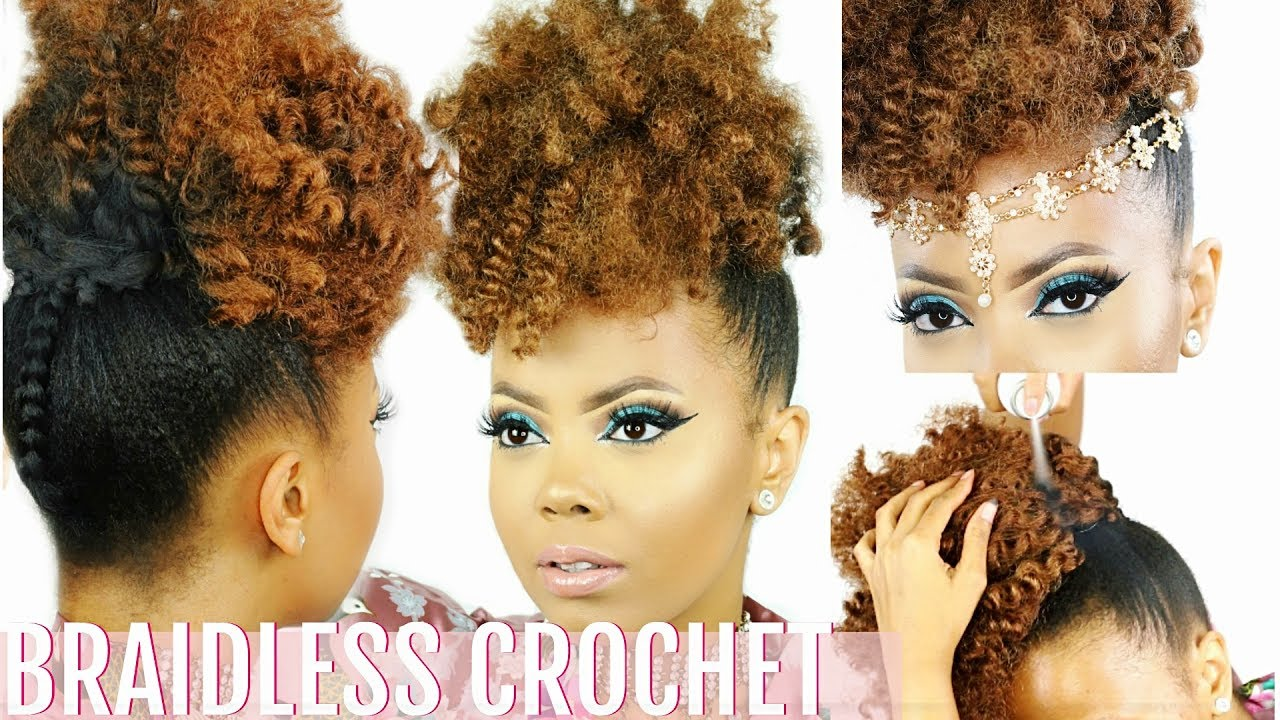 Braidless Crochet High Puff Tutorial No Cornrows