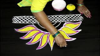 New year 2019 rangoli kolam designs with vibrant colors || New year Muggulu
