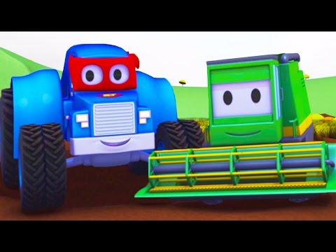 Carl el Super Camión y el Cosechador en Auto City   Dibujos animados para niños