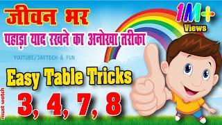 Table Trick    3, 4, 7, 8    पहाड़ा    Learn Multiplication Table   Fun & Learn Video/ jaytech & fun