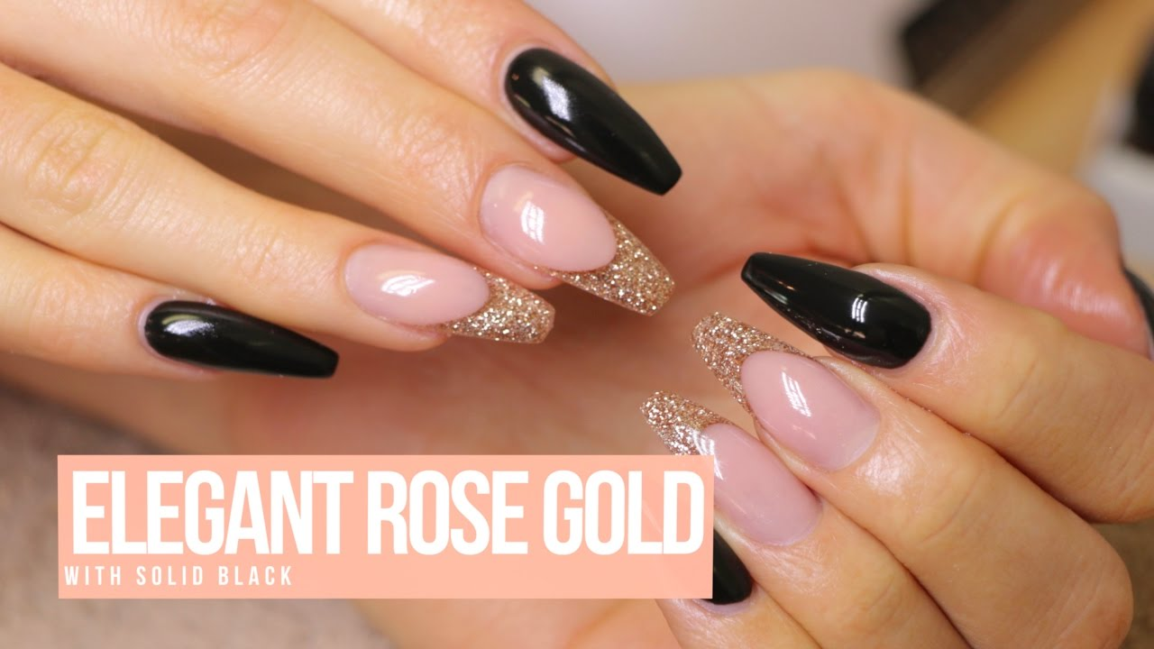 Acrylic Nail Design Elegant Rose Gold Youtube