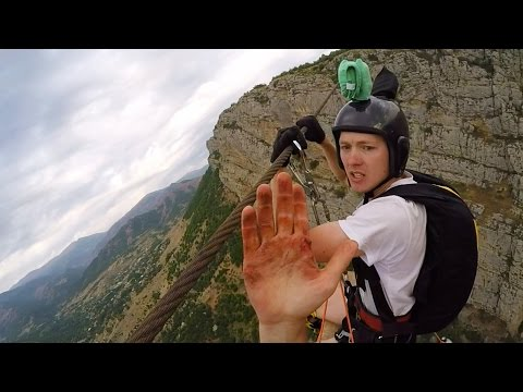 Friday Freakout: Super Sketchy Zipline BASE Jump, Almost Loses Fingers!