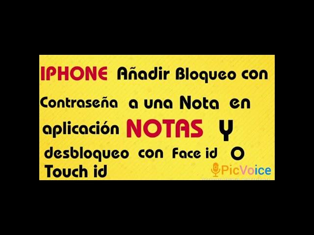 IPHONE ( Bloqueo de notas en app Notas con contraseña y  desbloqueo con Face Id o Touch Id )