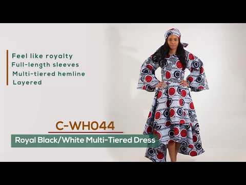 Royal African print multi tiered dress from Africa Imports