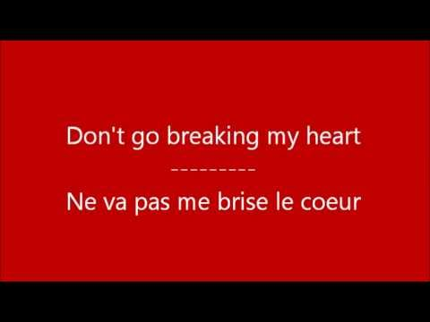 glee don 39 t go breaking my heart paroles traduction youtube. Black Bedroom Furniture Sets. Home Design Ideas