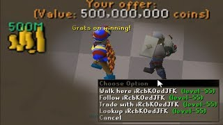I GAVE 500M to a LEVEL 55 Noob on Oldschool Runescape