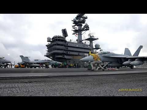 USS Reagan Aircraft Carrier Fly-Off Nov 2017