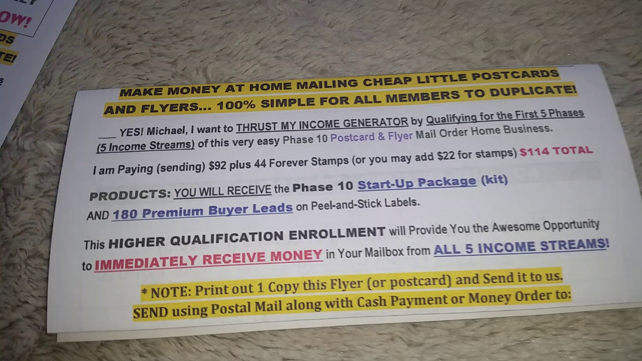 get paid for mailing postcards easy wealth system easy1up postcard system  the money funnel Phase 10