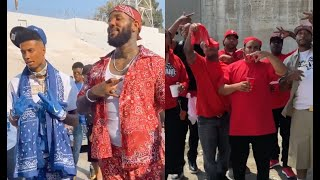 The Game & Mozzy Pulls Up To Blueface Music Video With All The Bloods From His Block