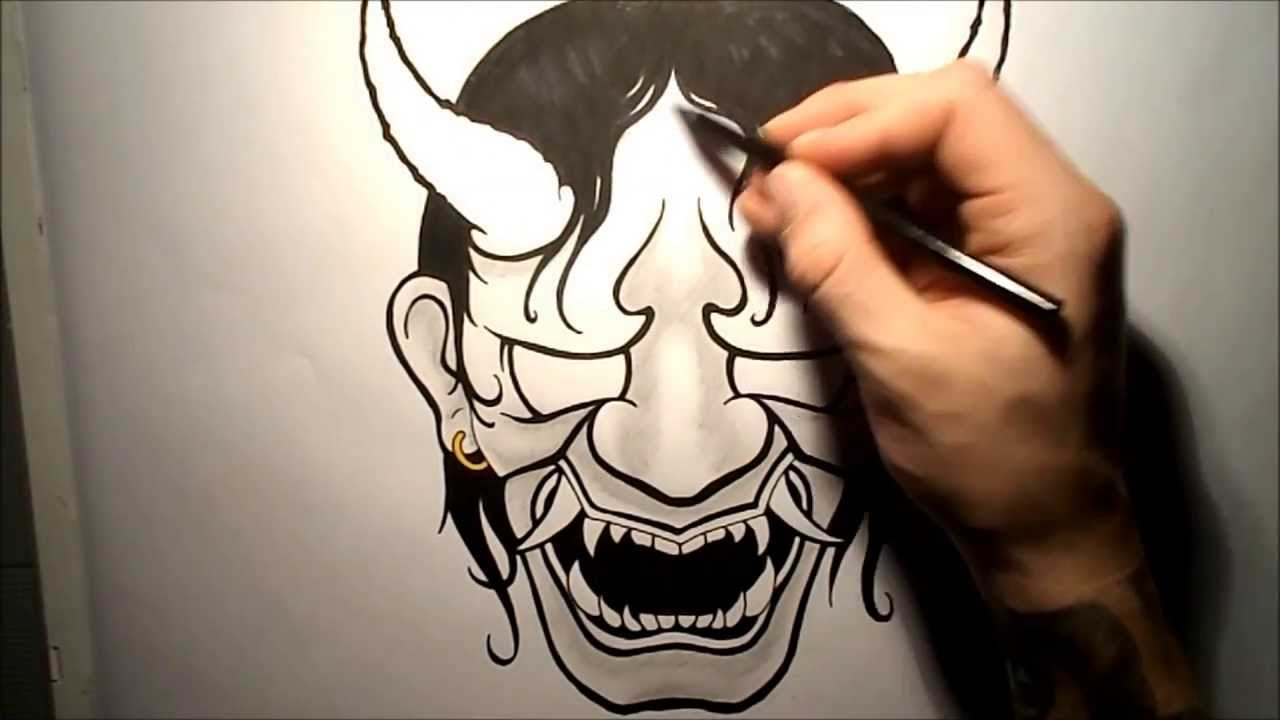 This is a photo of Canny Japanese Mask Drawing