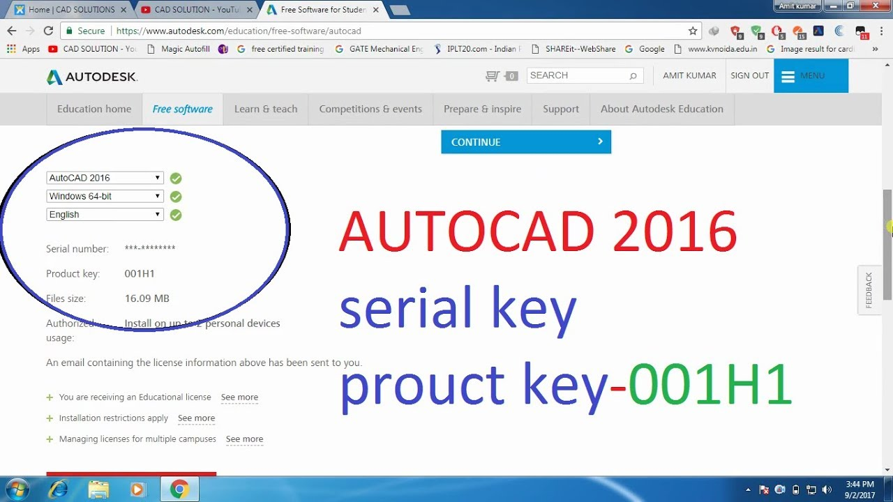 serial number e product key autocad 2018