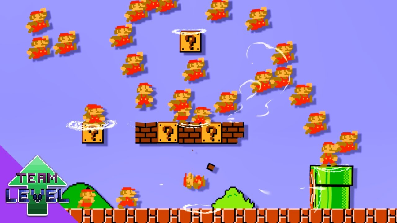 What if 99 Marios tried to beat Super Mario Bros.?