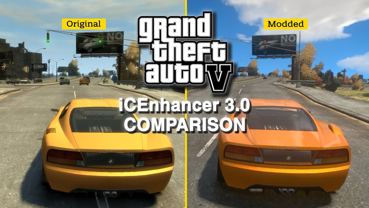 GTA IV: iCEnchancer 3.0 Mod - Graphics Comparison - YouTube