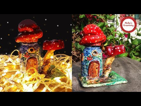 DIY Fairy house Using Glass Jar/ How To Make Fairy House Jar/ DIY Mushroom Fairy Lantern