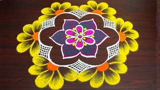 Simple flower colour rangoli for new year 2019 - margazhi & pongal kolam - sankranti muggulu