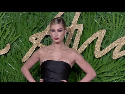 Hailey Baldwin on the red carpet for the The Fashion Awards 2017 in London