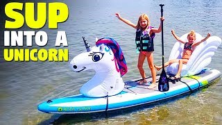 SUP Paddle Board into a Unicorn with Inflatable Animal Floats