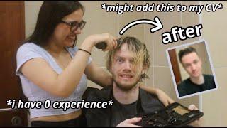 cutting my boyfriend's hair 💇♂️ // 10K special🎉
