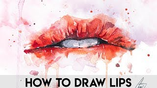 HOW TO DRAW LIPS FOR BEGGINERS. EASY WATERCOLORS LIPS