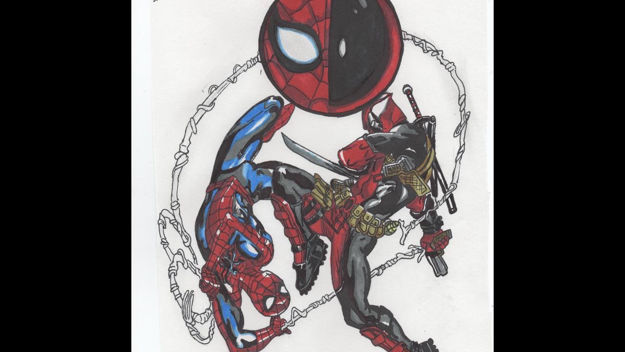 картинки дедпула и человека паука срисовать маленькие
