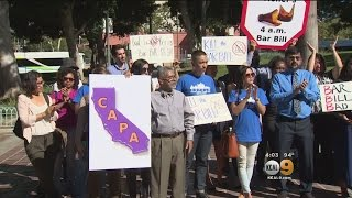 Protesters Rally In Los Angeles Against Bill To Extend Last Call At California Bars Until 4 A.M.