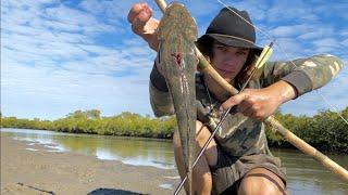Primitive Bowfishing Flathead Catch & Cook! Pt.2