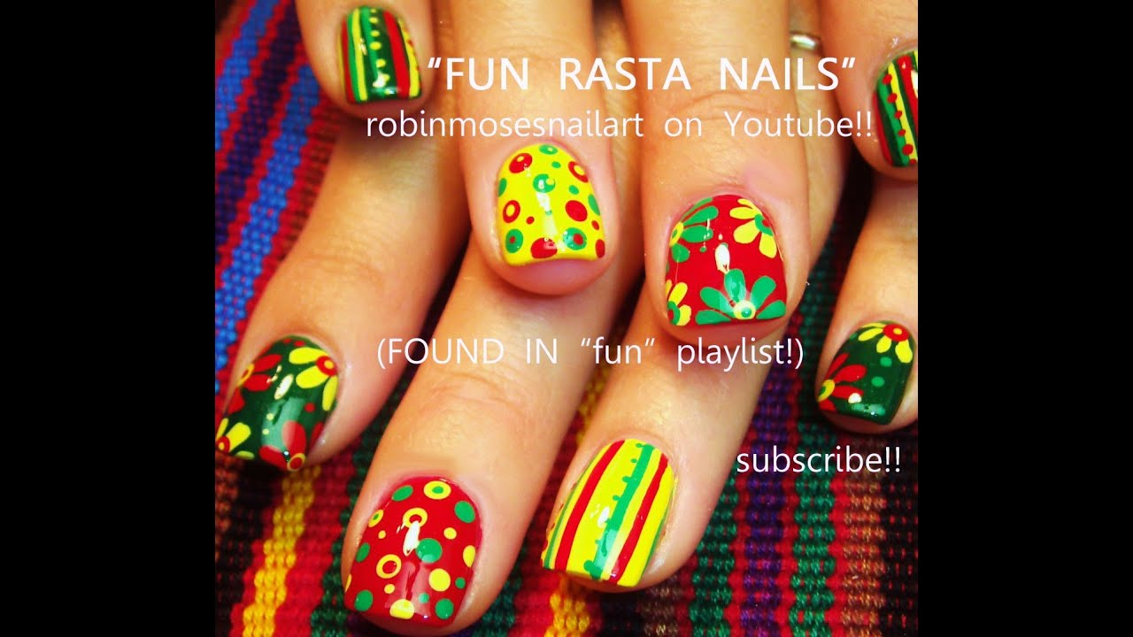 5 Nail Art Easy For Beginners Rasta Nails Design Tutorial You