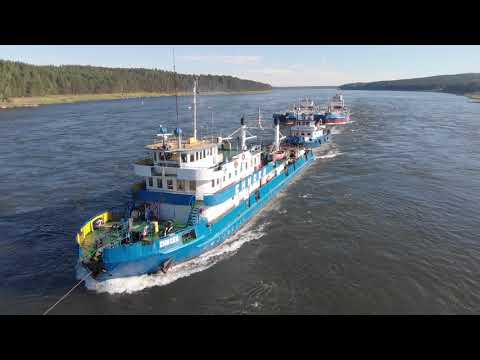 видео: Съёмка с квадрокоптера!  Туер Енисей поднимает суда в Казачинском пороге на реке Енисей