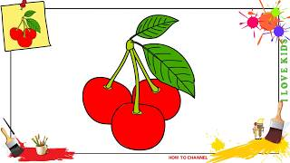 How to draw cherries EASY step by step for kids, beginners, children