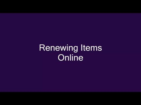 Renewing Items Online (Cranston Public Library)