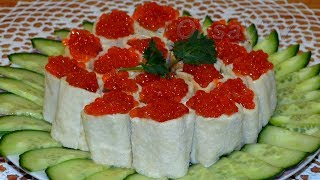 Роллы из лаваша с красной рыбой и красной икрой. Lavash rolls with red fish and red caviar.