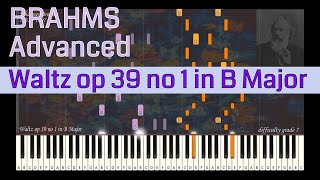 Johannes Brahms - Waltz op 39 no 1 in B Major | Synthesia Piano Tutorial | Library of Music