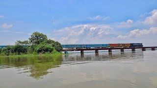 Maitree Express IR Rake at Dilpashar Chalan Beel with Double-decker power car of Indian Railways