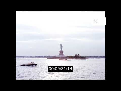 1970s New York, Staten Island Ferry and Statue of Liberty, HD from 35mm