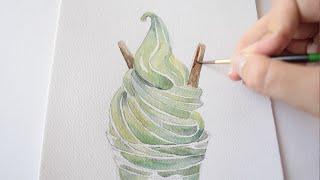 Watercolour tutorial : Ice cream (Soft cream)
