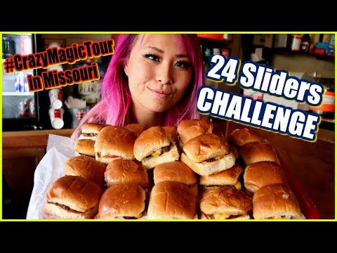 24 Sliders Eating Challenge in Springfield, Missouri #CrazyMagicTour - #RainaisCrazy