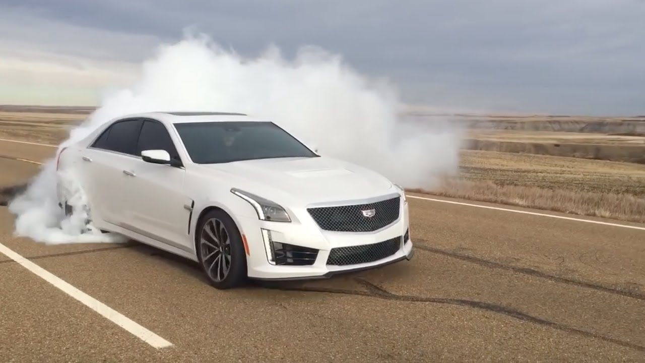 2019 Cadillac CTS V BIG BURNOUT! V3 - YouTube
