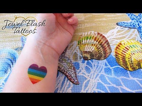 Rainbow Heart Temporary Tattoo Application by Jewel Flash Tattoos Cute Small Design as Tiny Rainbow