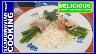 Norsk Lakseroulade Med Asparges - Norwegian Salmon Roll With Asparagus - A Delicious Salmon Dinner!
