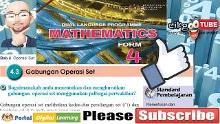 4.3. Gabungan Operasi Set. Perbincangan Contoh 14, menentukan pelengkap, Matematik Tingkatan 4 KSSM.